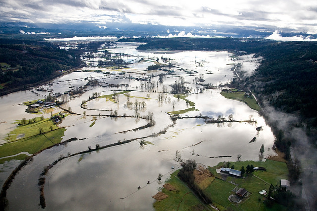 Winter flooding of the farmlands of Western Washington
