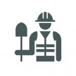 icon of construction worker holding shovel